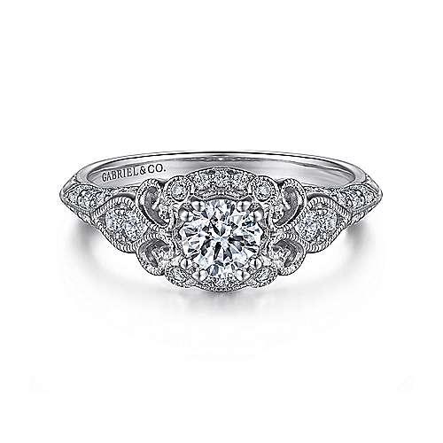 Gabriel - Halsey 14k White Gold Round Halo Engagement Ring
