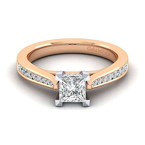 Hannah 14k White And Rose Gold Princess Cut Straight Engagement Ring angle 1