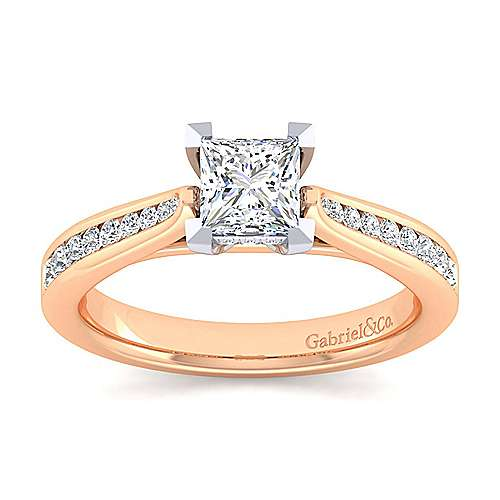 Hannah 14k White And Rose Gold Princess Cut Straight Engagement Ring angle 5