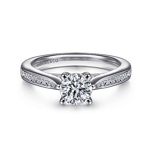 Gabriel - Hannah 14k White Gold Round Straight Engagement Ring