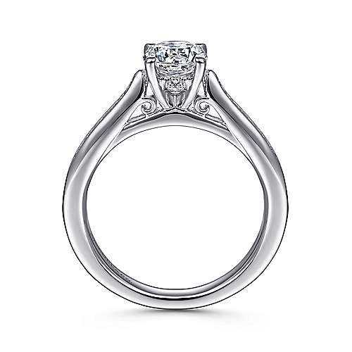 Hannah 14k White Gold Round Straight Engagement Ring angle 2