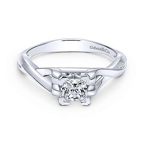 Gabriel - Harley 14k White Gold Princess Cut Twisted Engagement Ring