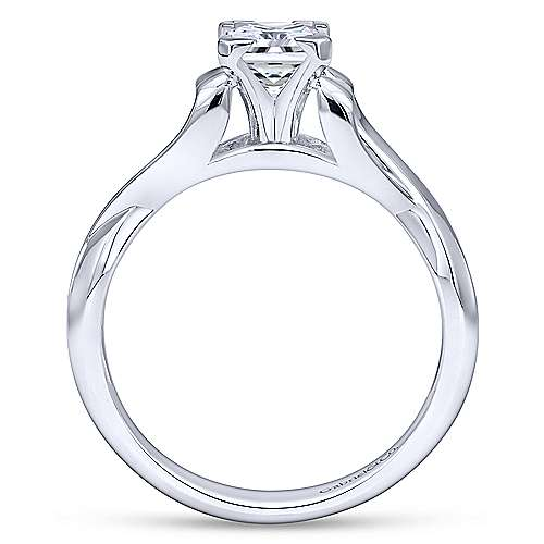Harley 14k White Gold Princess Cut Twisted Engagement Ring angle 2