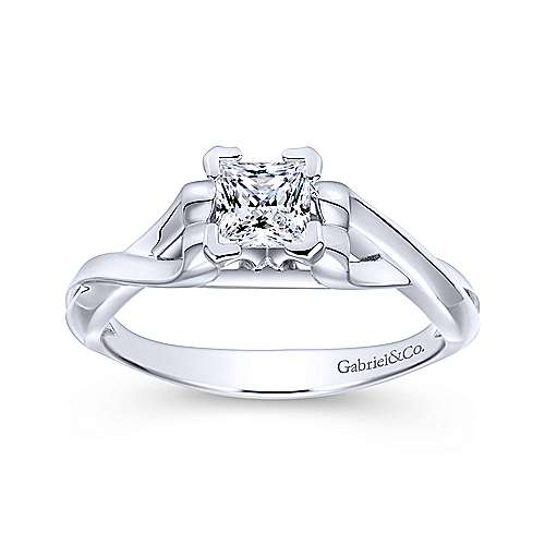 Harley 14k White Gold Princess Cut Twisted Engagement Ring angle 5
