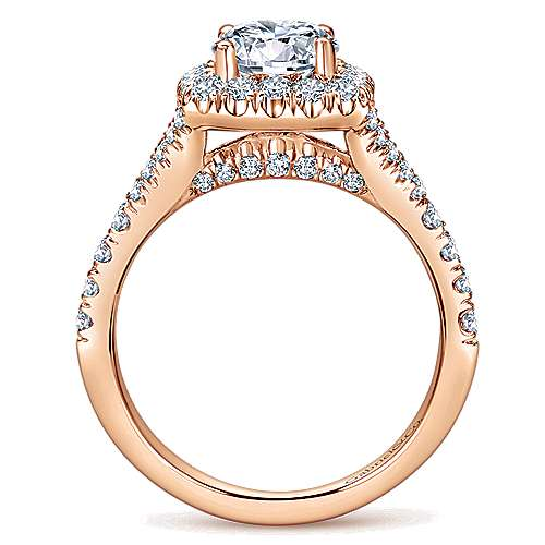 Harlow 14k Rose Gold Round Halo Engagement Ring angle 2
