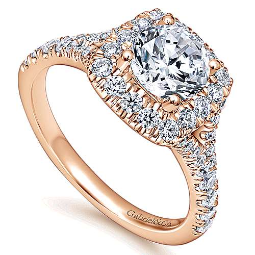 Harlow 14k Rose Gold Round Halo Engagement Ring angle 3