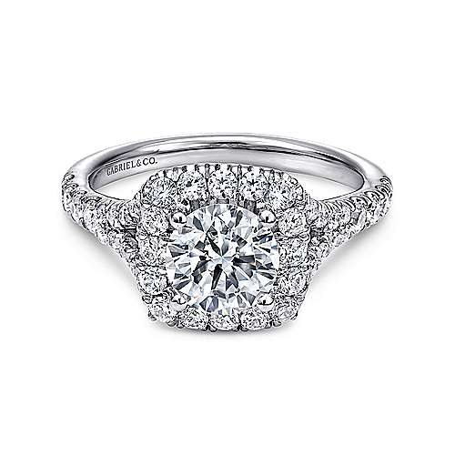 Gabriel - Harlow 14k White Gold Round Halo Engagement Ring