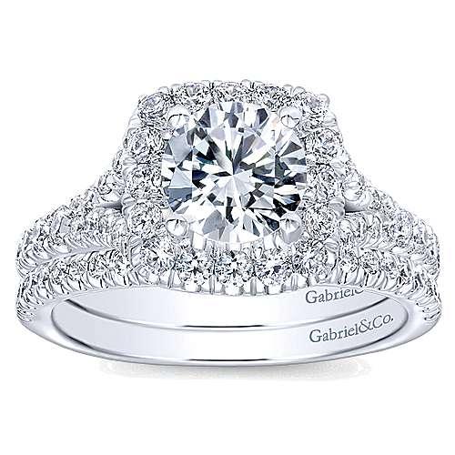 Harlow 14k White Gold Round Halo Engagement Ring angle 4