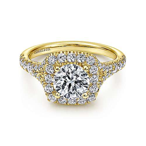 Harlow 14k Yellow Gold Round Halo Engagement Ring angle 1
