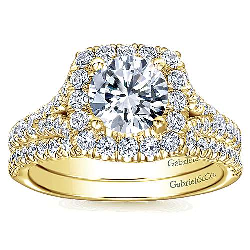 Harlow 14k Yellow Gold Round Halo Engagement Ring angle 4