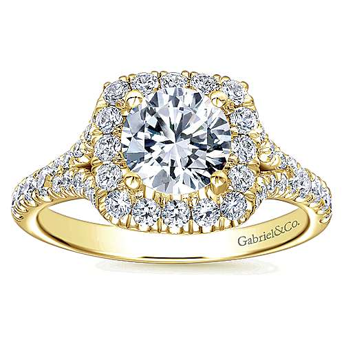 Harlow 14k Yellow Gold Round Halo Engagement Ring angle 5