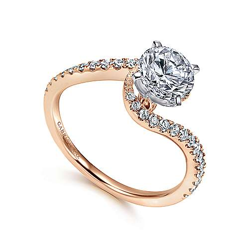 Harmony 14k White And Rose Gold Round Bypass Engagement Ring angle 3