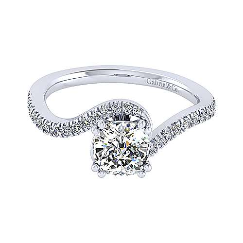 Gabriel - Harmony 14k White Gold Cushion Cut Bypass Engagement Ring
