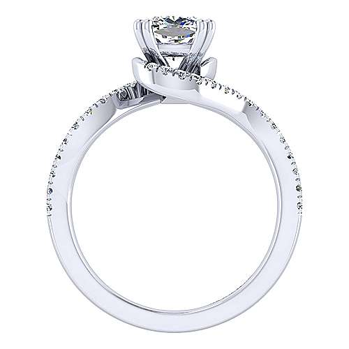 Harmony 14k White Gold Cushion Cut Bypass Engagement Ring angle 2