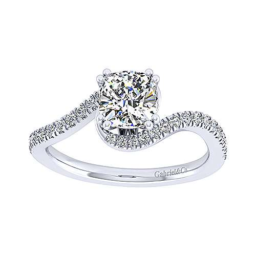 Harmony 14k White Gold Cushion Cut Bypass Engagement Ring angle 5