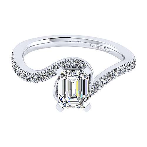 14k White Gold Emerald Cut Bypass