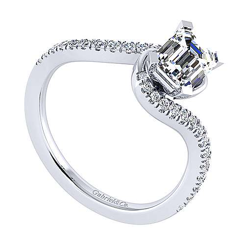 Harmony 14k White Gold Emerald Cut Bypass Engagement Ring angle 3