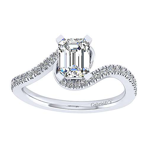 Harmony 14k White Gold Emerald Cut Bypass Engagement Ring angle 5
