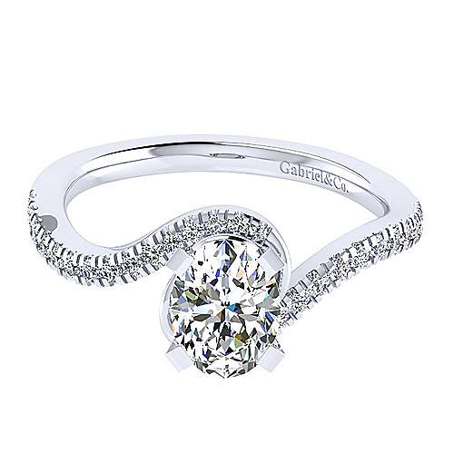Harmony 14k White Gold Oval Bypass Engagement Ring angle 1
