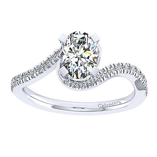 Harmony 14k White Gold Oval Bypass Engagement Ring angle 5