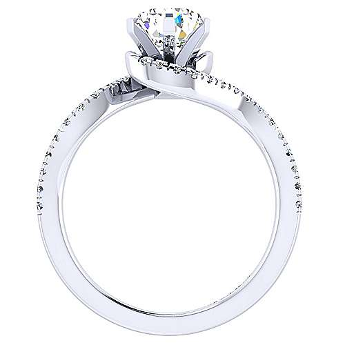 Harmony 14k White Gold Pear Shape Bypass Engagement Ring angle 2