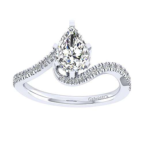 Harmony 14k White Gold Pear Shape Bypass Engagement Ring angle 5