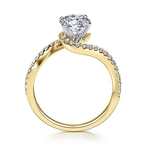 Harmony 14k Yellow And White Gold Round Bypass Engagement Ring angle 2