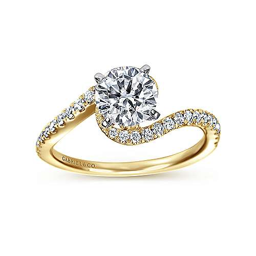 Harmony 14k Yellow And White Gold Round Bypass Engagement Ring angle 5