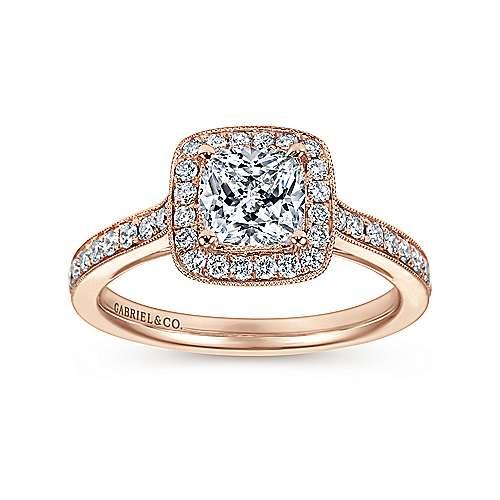 Harper 14k Pink Gold Cushion Cut Halo Engagement Ring angle 5