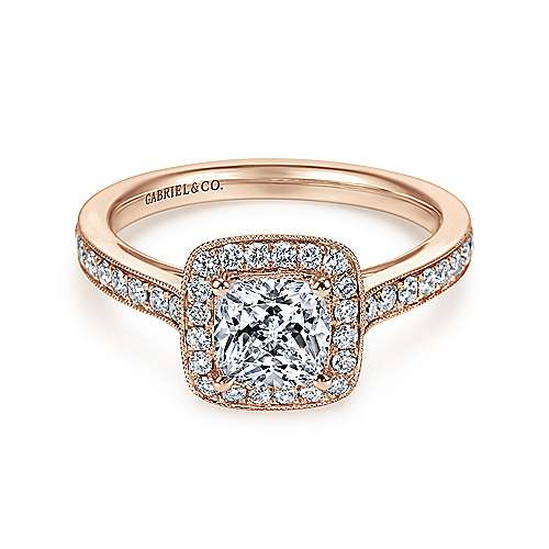 Harper 14k Rose Gold Cushion Cut Halo Engagement Ring angle 1
