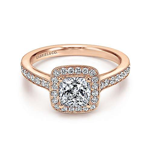 Gabriel - Harper 14k Rose Gold Cushion Cut Halo Engagement Ring