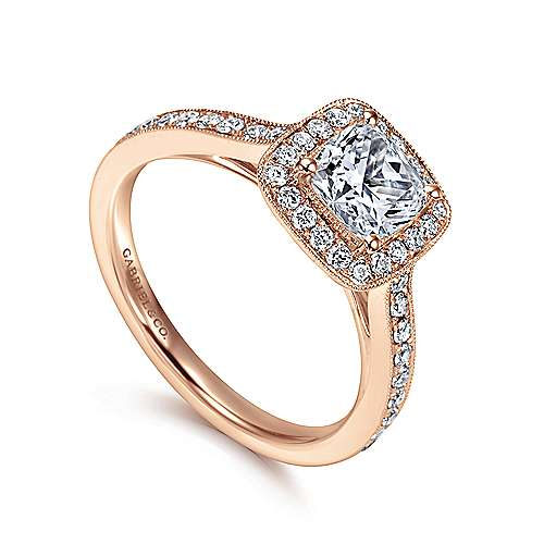 Harper 14k Rose Gold Cushion Cut Halo Engagement Ring angle 3