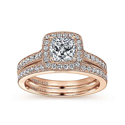 Harper 14k Rose Gold Cushion Cut Halo Engagement Ring angle 4