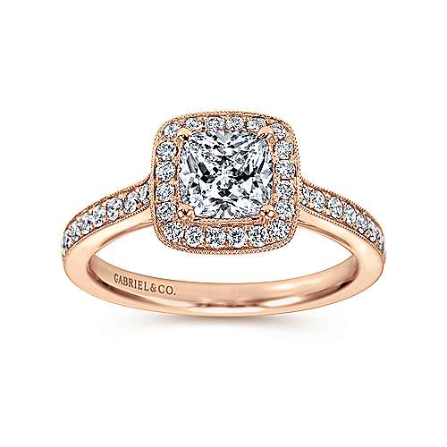Harper 14k Rose Gold Cushion Cut Halo Engagement Ring angle 5