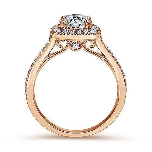 Harper 14k Rose Gold Round Halo Engagement Ring angle 2