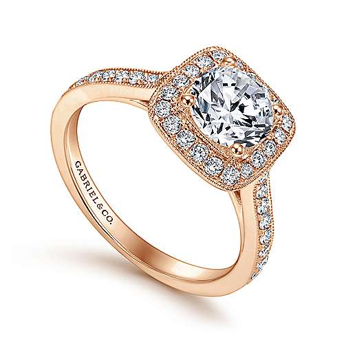 Harper 14k Rose Gold Round Halo Engagement Ring angle 3