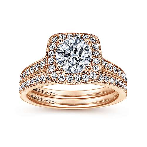Harper 14k Rose Gold Round Halo Engagement Ring angle 4