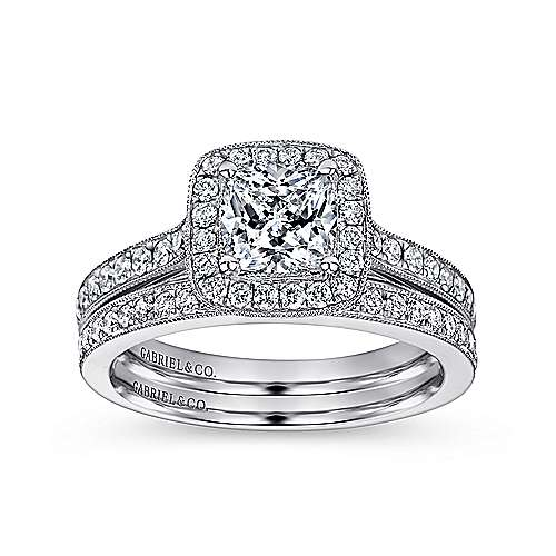 Harper 14k White Gold Cushion Cut Halo Engagement Ring angle 4