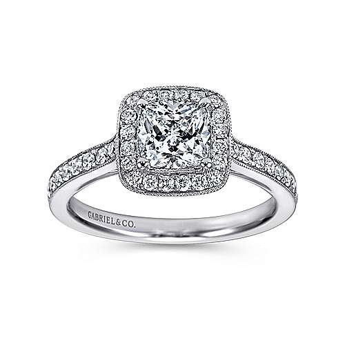 Harper 14k White Gold Cushion Cut Halo Engagement Ring angle 5