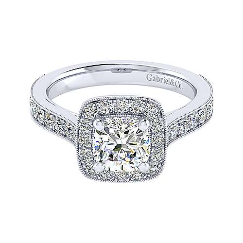 Gabriel - Harper 14k White Gold Cushion Cut Straight Engagement Ring