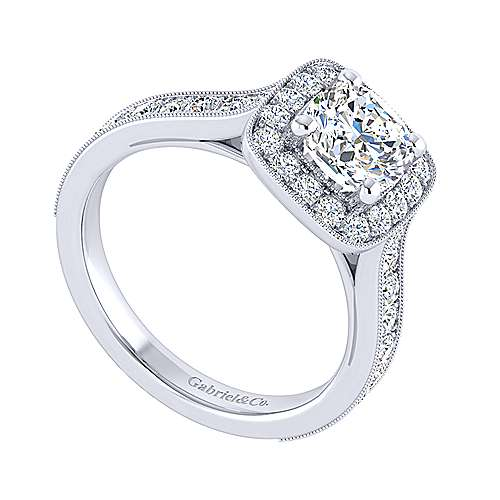 Harper 14k White Gold Cushion Cut Straight Engagement Ring angle 3