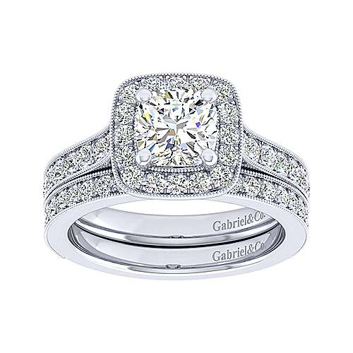 Harper 14k White Gold Cushion Cut Straight Engagement Ring angle 4