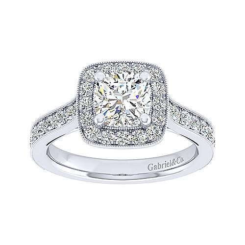 Harper 14k White Gold Cushion Cut Straight Engagement Ring angle 5