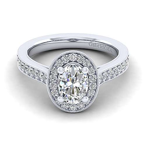 Gabriel - Harper 14k White Gold Oval Halo Engagement Ring
