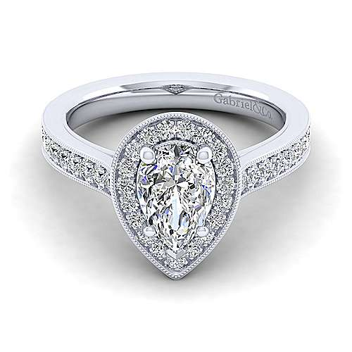 Gabriel - Harper 14k White Gold Pear Shape Halo Engagement Ring
