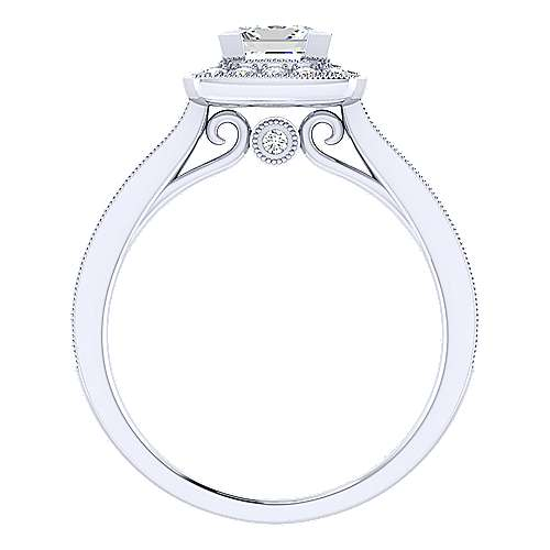 Harper 14k White Gold Princess Cut Halo Engagement Ring angle 2