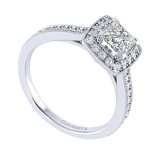 Harper 14k White Gold Princess Cut Halo Engagement Ring angle 3