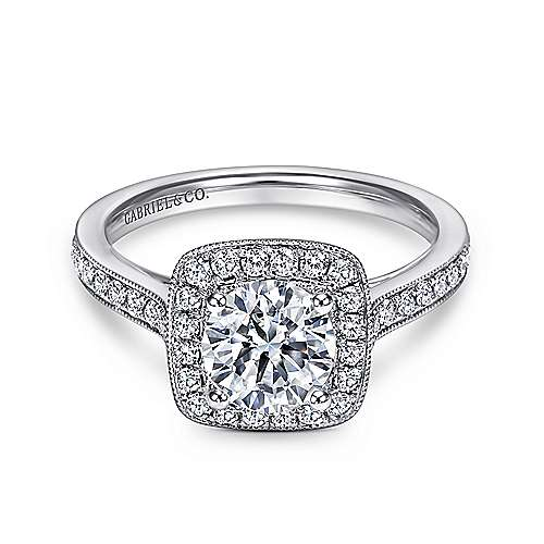 Harper 14k White Gold Round Halo Engagement Ring angle 1