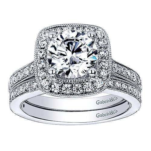Harper 14k White Gold Round Halo Engagement Ring