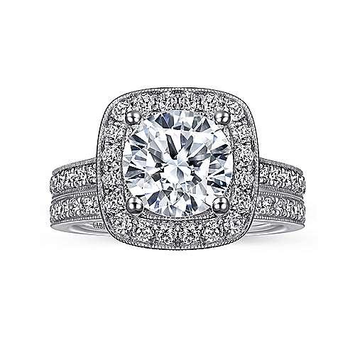 Harper 14k White Gold Round Halo Engagement Ring